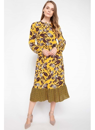 DeFacto Floral Desenli Midi Elbise Sarı